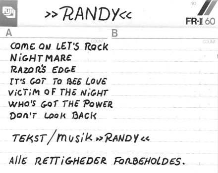 Randy – Demo (1987)
